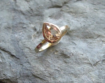 Morganite Pear 14K Gold, 8x6 Gemstone Ring, Made to Order
