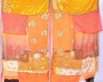 Bohemian Gypsy Curtain curtains boho curtains scarf kanta gold peach sequins C211