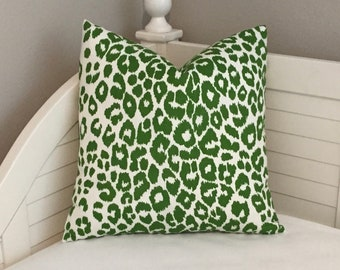 Schumacher OUTDOOR Iconic Leopard in Green Designer Pillow Cover With or Without Piping - Square, Lumbar and Euro Sizes