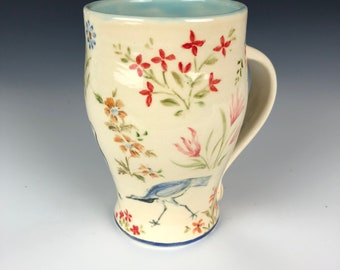Ceramic coffee tea mug handpainted Persian designs birds and flowers, Mother's day gift