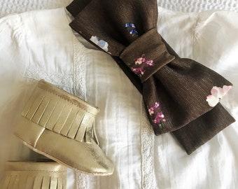 Khaki Floral Bow