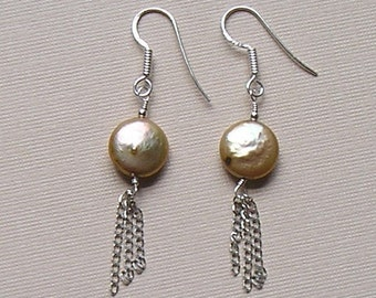 Gold Coin Pearl, Sterling Silver Drop Earrings