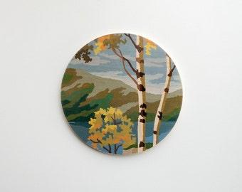 Paint by Number Large Circle Art Block 'Autumn Birches' - fall color,  vintage landscape
