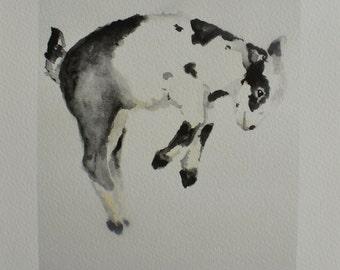 Jumping Goat PRINT Giclee of original watercolor painting farm animal nursery decor baby Goat