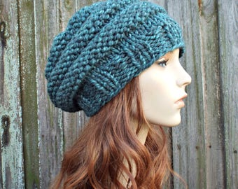 Turquoise Blue Knit Hat Blue Womens Hat - Original Beehive Beret - Blue Hat Blue Beret Blue Beanie Blue Winter Hat - READY TO SHIP