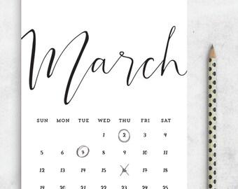 SALE 2017 Printable Calendar PDF 5x7 A4 Us Letter, Printable Calendar Minimalist, Printable Wall Calendar, Desk Manager INSTANT Download