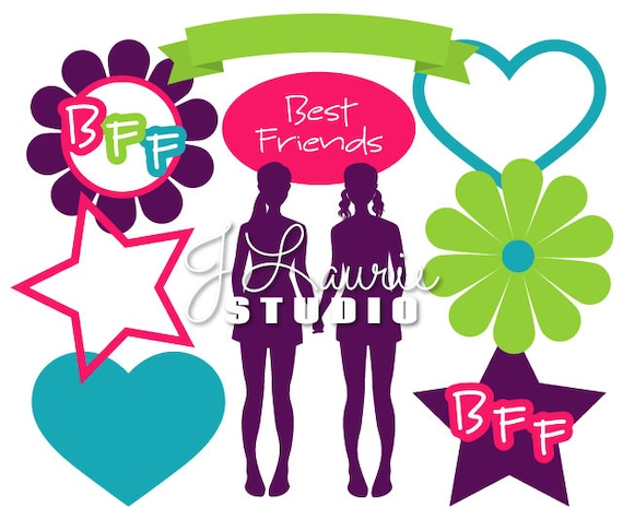 digital clipart elements bff best friend clipart best friend rh etsystudio com bff heart clipart bff birthday clipart