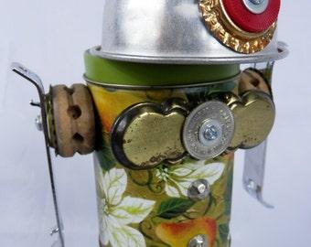 """Robot Assemblage/Sculpture """"Shorty"""" Found Object - Junk Art"""