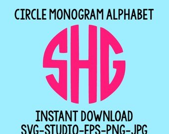 SALE! Circle Monogram Svg, Monogram Letters, Circle Monogram Font, Cut Files For Cricut, Cut Files For Silhouette