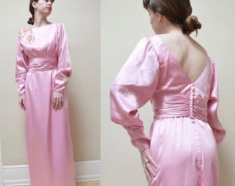 70s 80s Low Back Satin Puff Sleeve Dress // Alyce Designs Embellished Column Gown // S