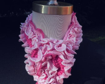 Pretty Pink Ruffled Scarf Frilly Woman's Spring Summer Accessory