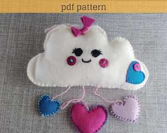 Felt Pattern-Felt-Cloud Pattern-Felt cloud decoration-Cloud sewing pattern-Felt PDF Pattern-Felt Love Cloud Ornament-Decor pattern-DIY Gift