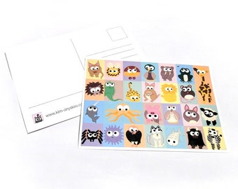 Alphabeasts Postcard - A to Z of Animals, post card with an alphabet of cute cartoon creatures, aardvark - zebra