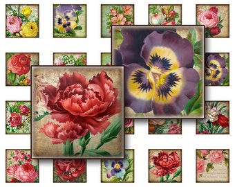 Flowers Collage Sheet Digital Collage sheet 1x1 inch for jewelry square pendants and magnets  digital collage sheet