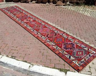 """Red & Pink runner, runner rug, Wool Runner rug, 200"""" x 37"""", Turkish runner rug, oversized runner, rustic hallway runner, Bohemian runner"""