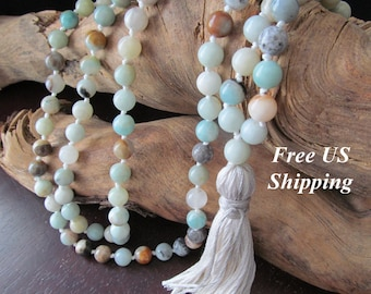 108 Mala Beads with Amazonite, Hand Knotted Long Tassel Necklace, Yoga Jewelry, Buddhist Prayer Beads