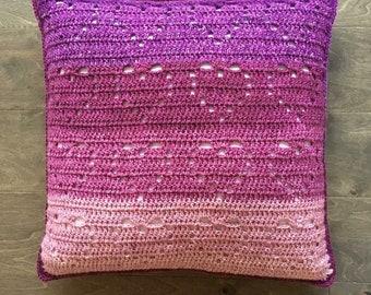 Cascading Hearts Pillow, Crochet Pillow, Throw Pillow