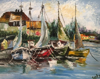 Oil Painting, Seascape Painting, Canvas Art, Oil Painting Original, Italy village, Palette Knife Painting, Brush Painting
