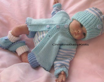 """Shane - Delightful Hand Knitted Outfit for 0-3 months old Baby Boy or 19-20"""" Reborn Doll, consisting of a cardigan, pants, hat and booties"""