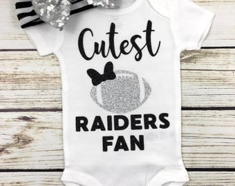 Cutest Raiders Fan Football Bodysuit Outfit For Baby Girl
