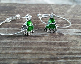 Silver and Green Christmas Tree with Merry Hoop Earrings with Large Hole Eurpoean Bead Charm Accents - Gifts for her