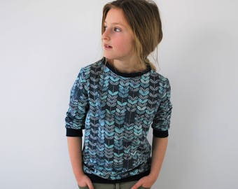 Funky kids top 7-8yrs SALE blue leaf sweater funky print kids jumper cute cotton green jersey toddler clothing baby jumper print spring