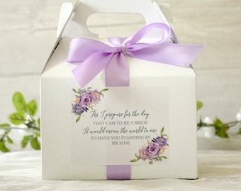 Purple Floral  Will You Be My Bridesmaid Box / As I prepare for the day that I am to be / Medium Gable Box /  Bridesmaid Proposal /