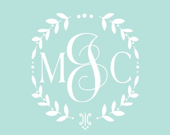 Vine Monogram Decal | Baby Girl Nursery Wall Decal | Wreath Monogram | Cornhole Wedding Decal Set