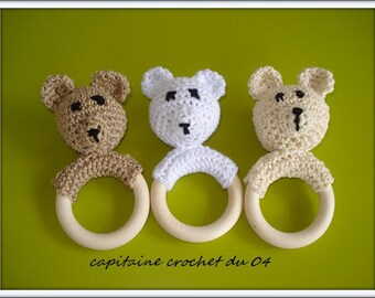 Bear crochet rattle/bear/rattles is hand/ring teether/amigurumis bears/crochet hook/girl/boy rattle/bear