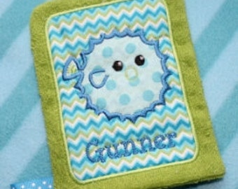 Digital Download  Applique Pufferfish Wash Mitt Embroidery Machine Design for the 5x7 hoop