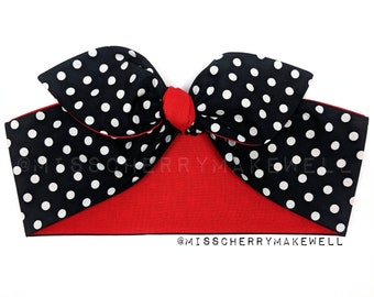 Black & White Polka Dot Rockabilly 1950's Pin Up Vintage Inspired Reversible Head Scarf Hair Tie Hair Bow by Miss Cherry Makewell