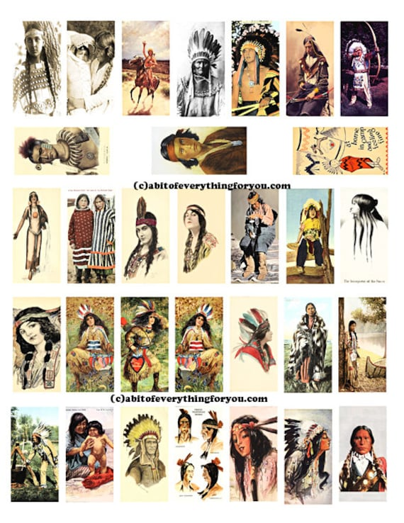 "vintage native american indian men women children art domino collage sheet digital download 1"" x 2"" inch graphics images printables pendants"
