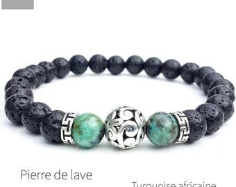 Men's lava african turquoise bracelet, Natural gemstone bracelet, Mala yoga bracelet, Boho beaded bracelet, Gift for men, Wildcoastjewels