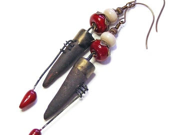Long Ceramic Spikes, Pierced Brown & Blood Red Earrings, OOAK (One of a Kind) Organic Jewellery, Unique Handcrafted Wearable Art