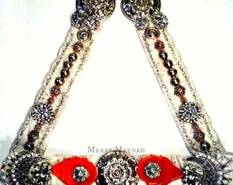 Tribal fusion belly dance belt. Orange Talhakimt on white with rhinestone and silver detail. Hip drapes and yarn falls. OOAK.