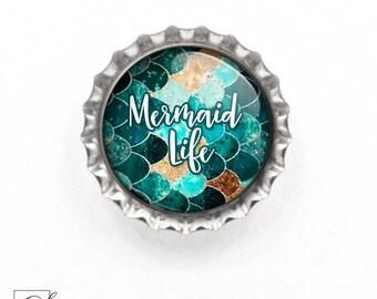 Bottle Cap Magnet, Fridge Magnet, Magnets, Mermaid Magnet, Mermaid Life Magnet, Cute Magnet, Refrigerator Magnet, Mermaid Life Magnet