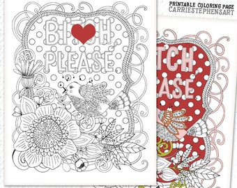 Adult Colouring Page Bitch Please Swear Word Sarcastic Coloring Printable Mature Humor Instant Download