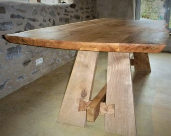 Oak Dining Table, Free form Live edge