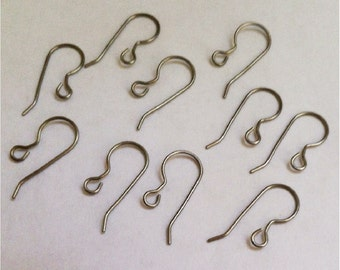 Titanium French Hook Ear Wires, 10 pieces, hypoallergenic earring supplies earwires