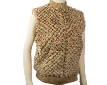 1980s Betmar Faux Fur and Knit Sand Beige Zipper Front Women's Vintage Vest Size Small