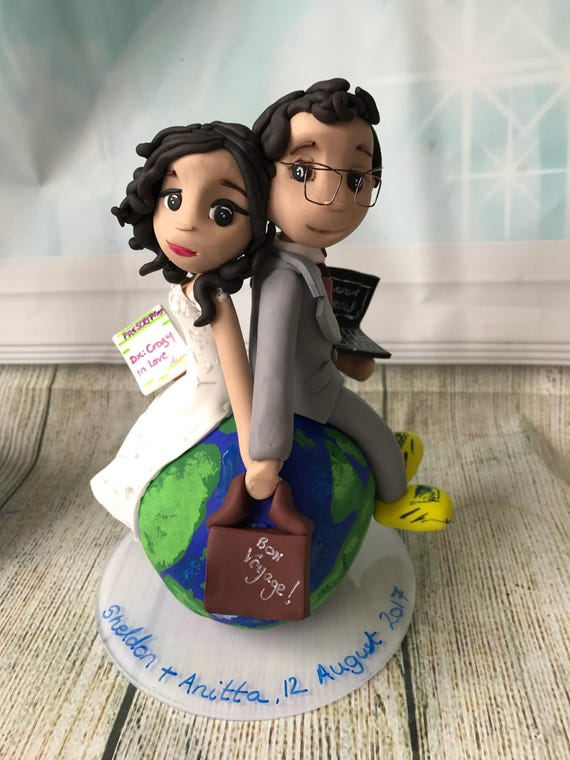 Fully personalised travel themed couple clay Wedding Cake Topper bride and groom