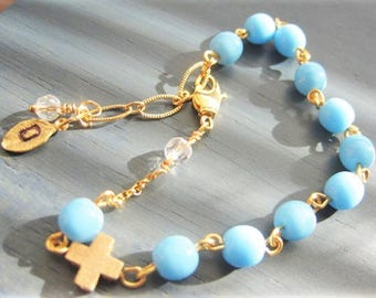 Rosary Bracelet, Turquoise Blue, Tiny Gold Cross, Personalized, hand stamped initial leaf , Baptism, Confirmation Gift
