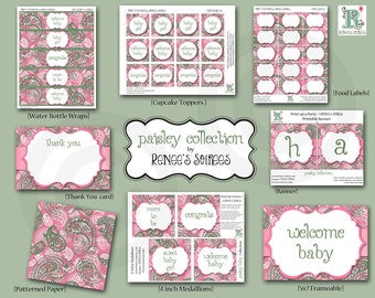 PAISLEY Baby Shower - Bridal Shower OR Birthday - Pink or  Blue - CUSTOMIZED - Printable Coordinating Design Accessories