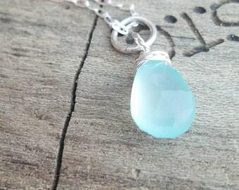 Blue Chalcedony Wire Wrap, Silver Dangle Necklace, Teardrop Pendant, Gift for Grads, Moms, Tweens, Teens, Girlfriends