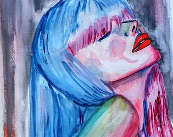 Expressive painting, portrait Watercolor Woman Portrait painting, colorful painting,  Wall art,  painting