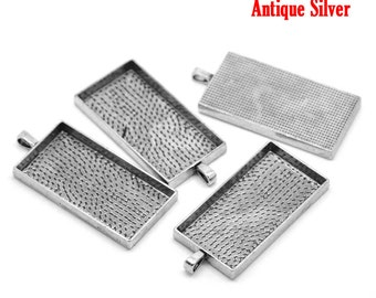 """2 Large Rectangle Pendant Bezel Trays, Antiqued silver tone metal, Frame for resin or glass, 2"""" long, chs1654"""