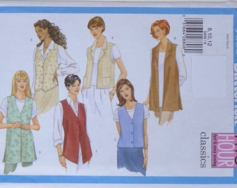 Vest Sewing Pattern, Butterick 5888 Uncut, 4 Styles, Fast and Easy 2 Hour, Beginning Student Project