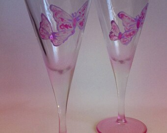 Hand painted pair of Pink Butterfly Champagne Flutes