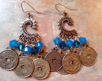 Dazzling Dangle Earrings/Swarovski Crystals and Coin Charms