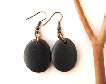 Beach Stone Earrings Mediterranean Pebble Jewelry Natural Stone Earrings Rock Jewelry River Stone Jewelry Pebble Black Copper OLIVE